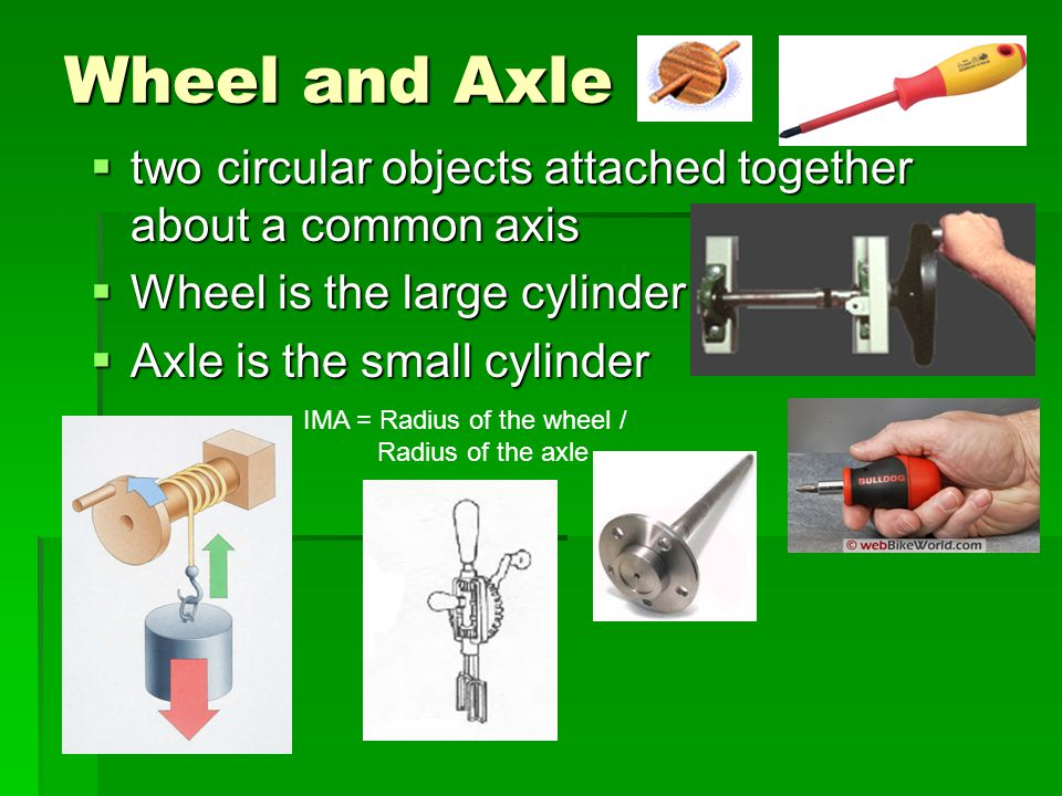 Wheel and Axle two circular objects attached together about a common axis. Wheel is the large cylinder.