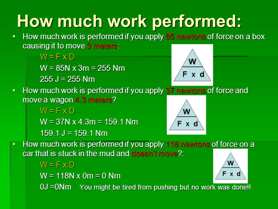 How much work performed: