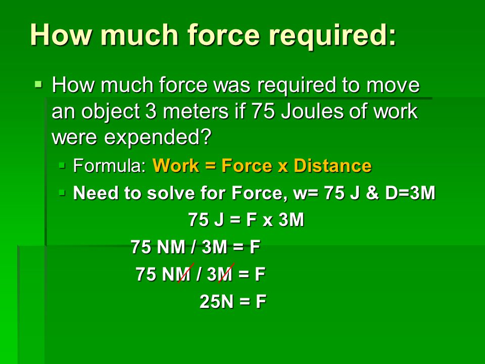 How much force required: