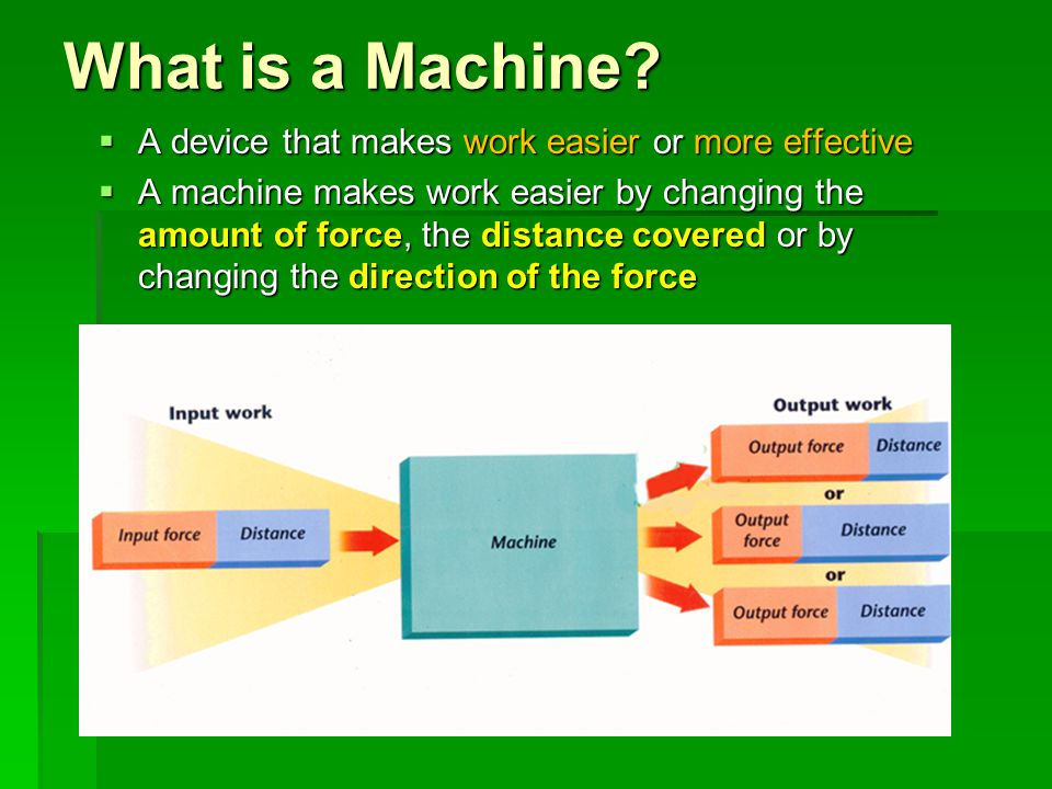 What is a Machine A device that makes work easier or more effective