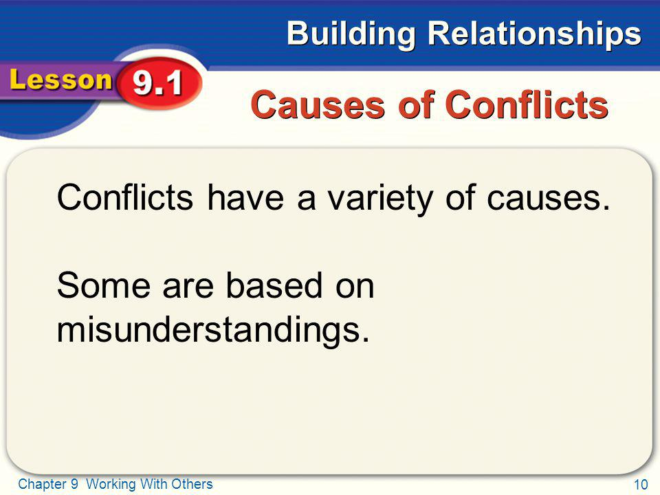Causes of Conflicts Conflicts have a variety of causes.