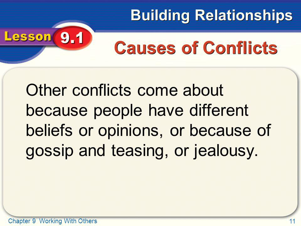 Causes of Conflicts Other conflicts come about because people have different beliefs or opinions, or because of gossip and teasing, or jealousy.