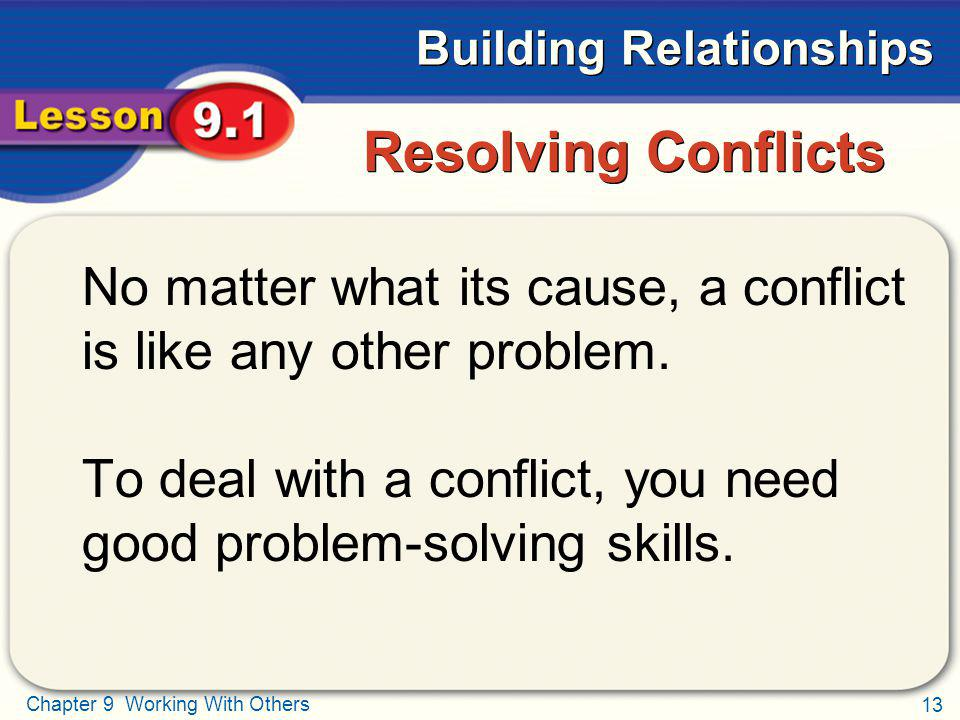 Resolving Conflicts No matter what its cause, a conflict is like any other problem.
