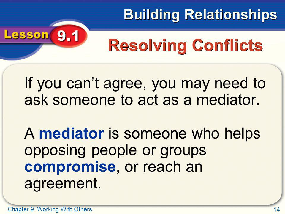 Resolving Conflicts If you can't agree, you may need to ask someone to act as a mediator.