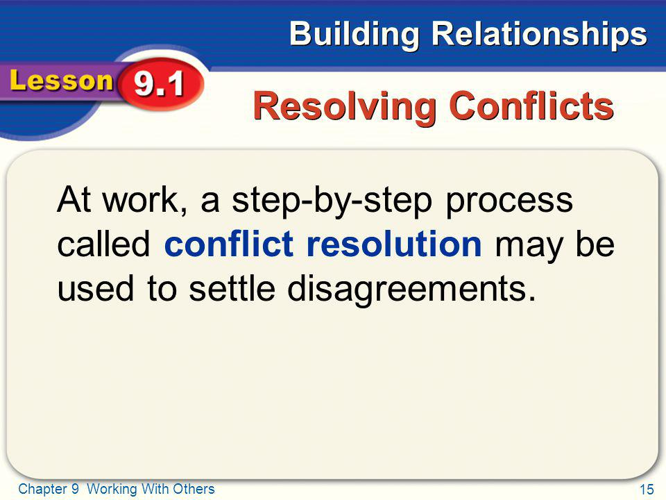 Resolving Conflicts At work, a step-by-step process called conflict resolution may be used to settle disagreements.