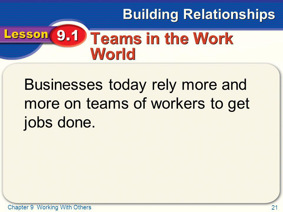 Teams in the Work World Businesses today rely more and more on teams of workers to get jobs done.