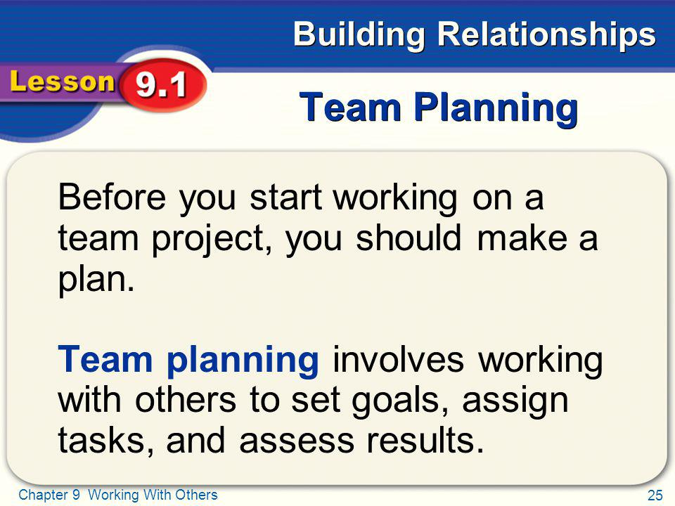 Team Planning Before you start working on a team project, you should make a plan.