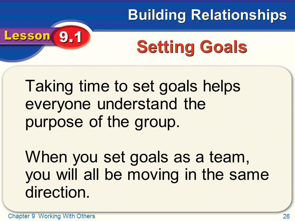 Setting Goals Taking time to set goals helps everyone understand the purpose of the group.