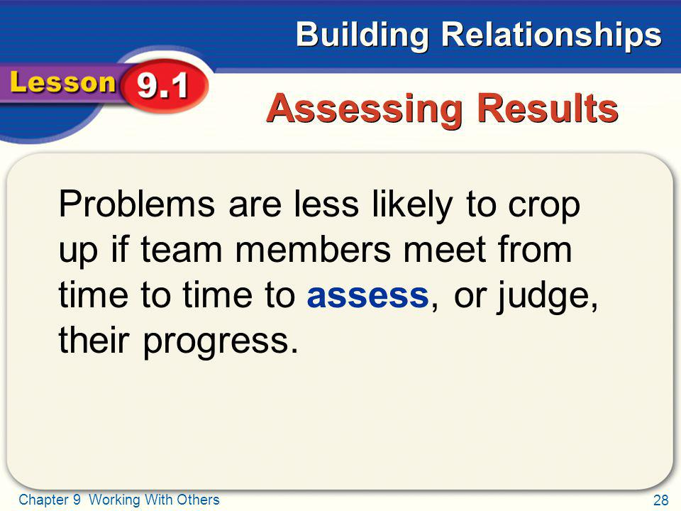 Assessing Results Problems are less likely to crop up if team members meet from time to time to assess, or judge, their progress.