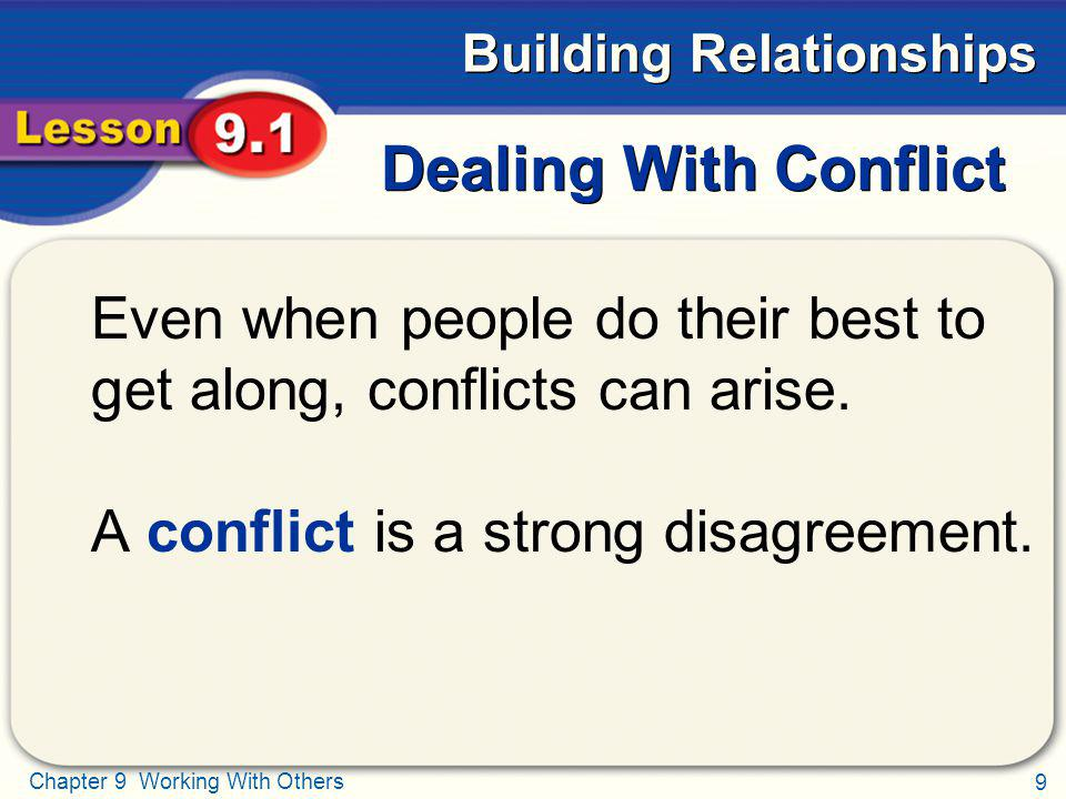 Dealing With Conflict Even when people do their best to get along, conflicts can arise.