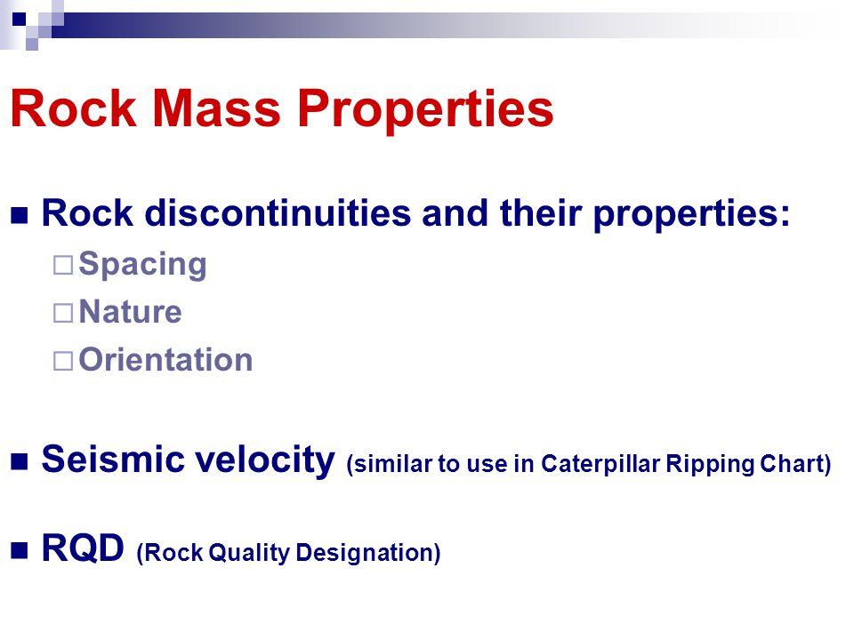 Rock Mass Properties Rock discontinuities and their properties: