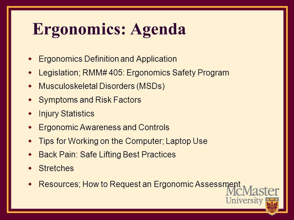 Ergonomics: Agenda Ergonomics Definition and Application