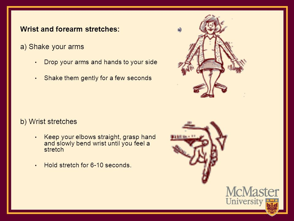 Wrist and forearm stretches: a) Shake your arms