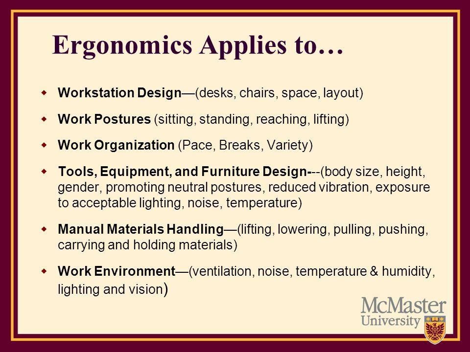 Ergonomics Applies to…