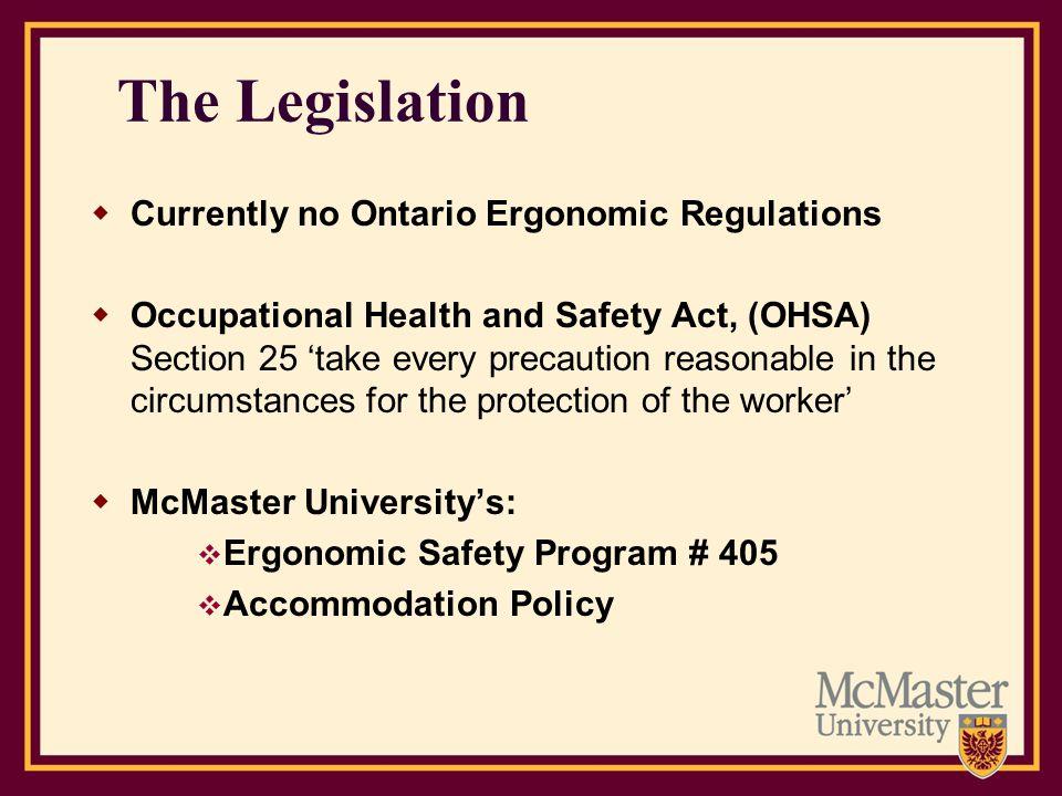 The Legislation Currently no Ontario Ergonomic Regulations