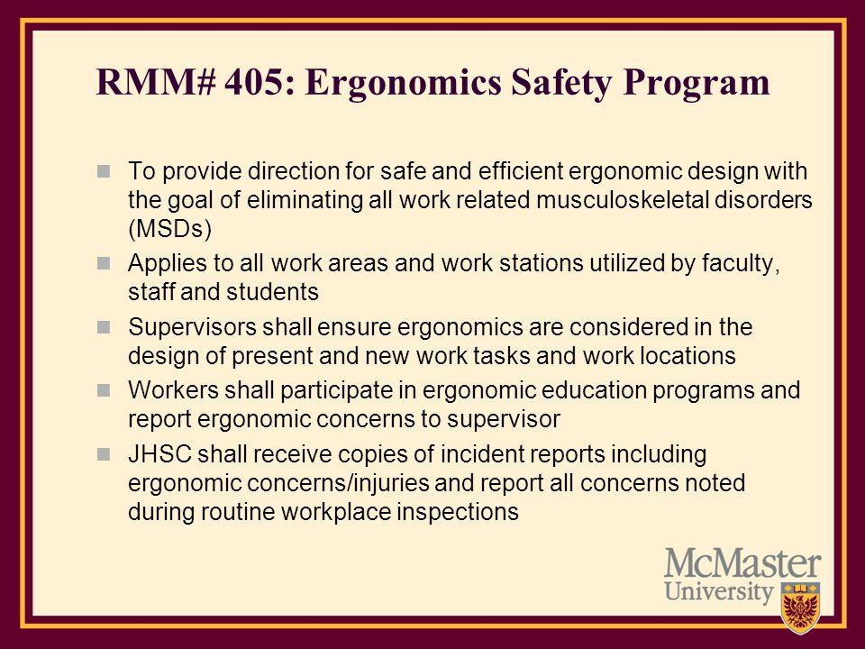 RMM# 405: Ergonomics Safety Program