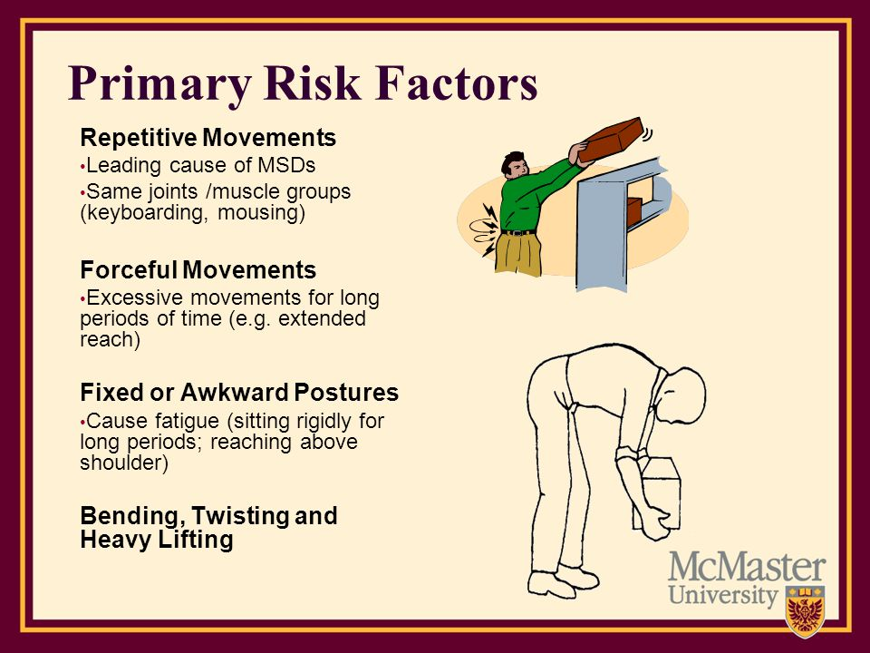 Primary Risk Factors Repetitive Movements Forceful Movements