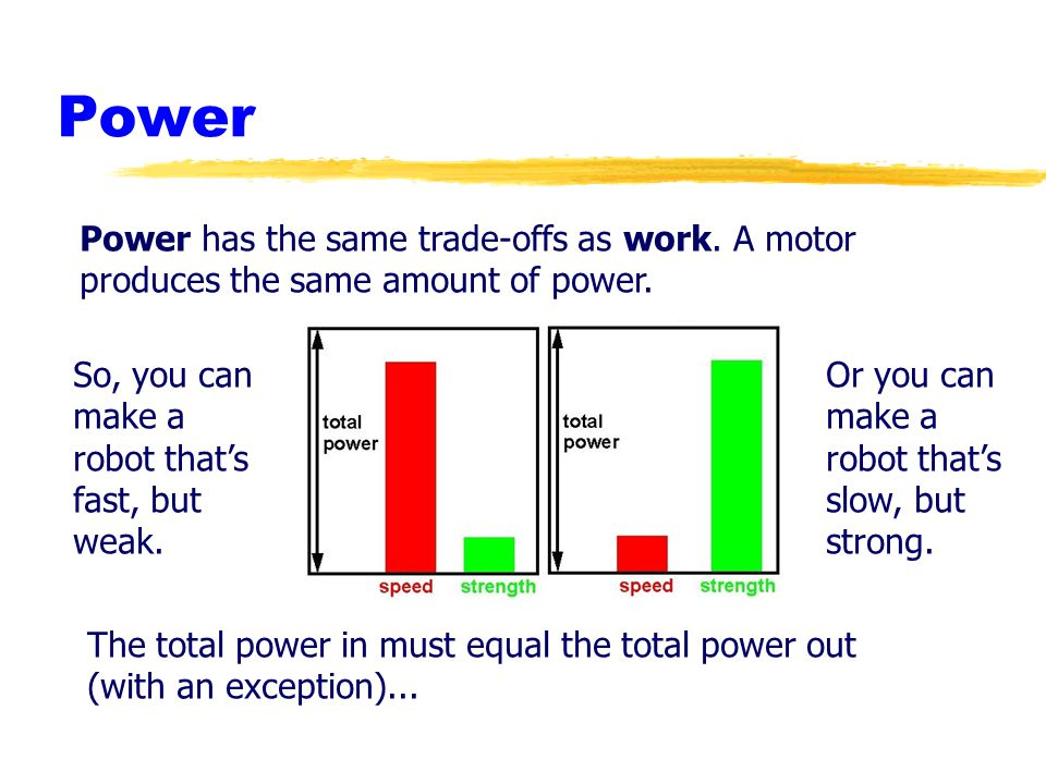 Power Power has the same trade-offs as work. A motor produces the same amount of power. So, you can make a robot that's fast, but weak.