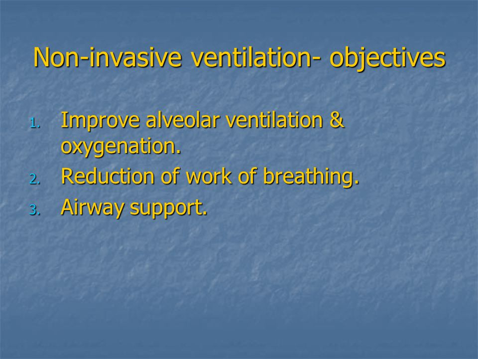 Non-invasive ventilation- objectives