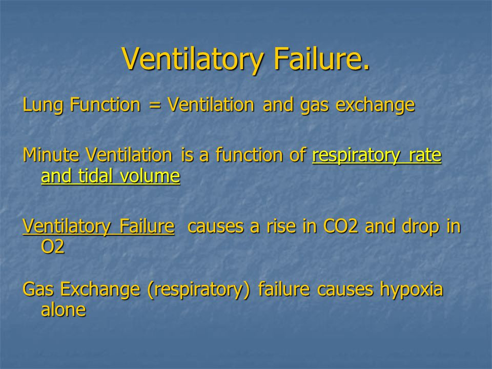 Ventilatory Failure. Lung Function = Ventilation and gas exchange