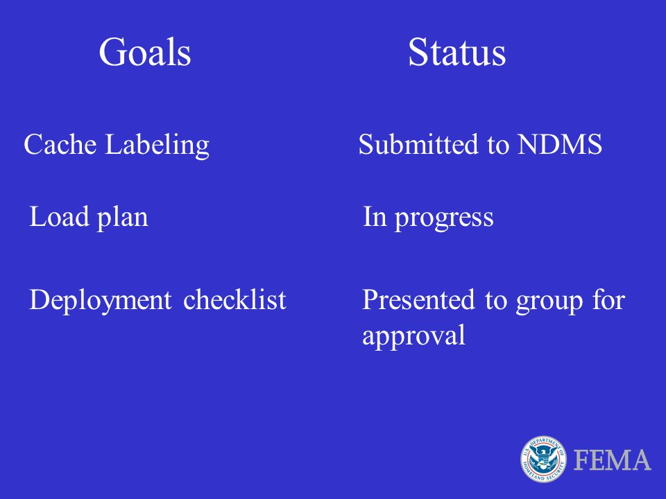 Goals Status Cache Labeling Submitted to NDMS Load plan In progress