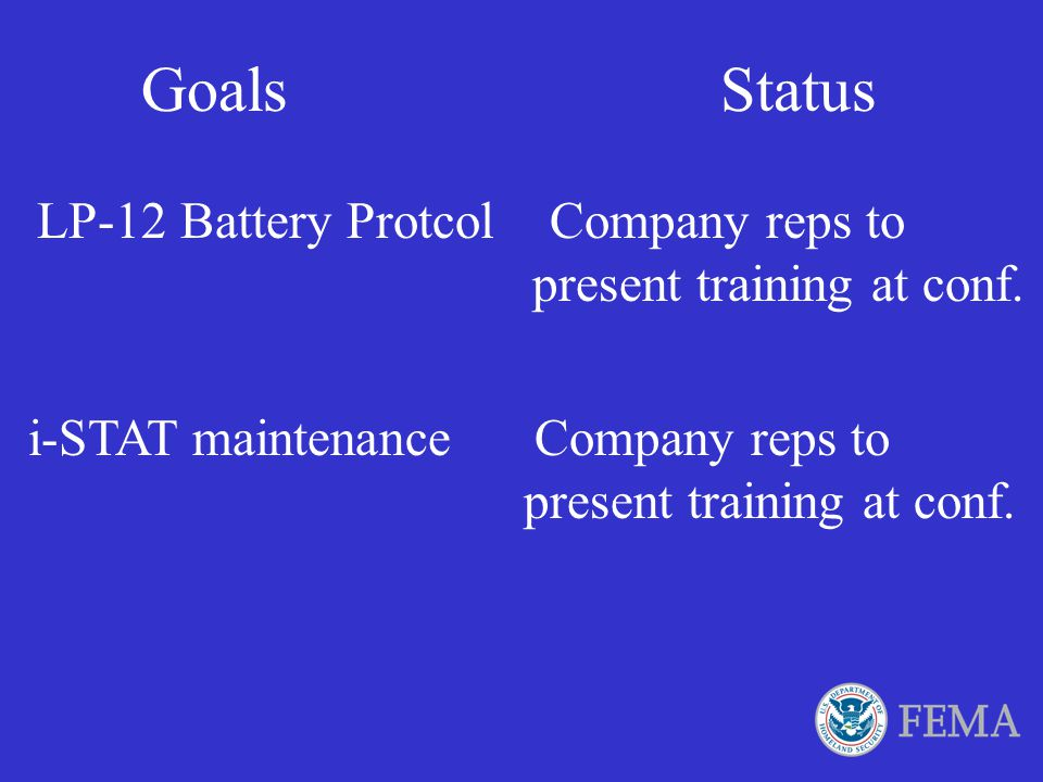 Goals Status LP-12 Battery Protcol Company reps to present training at conf.