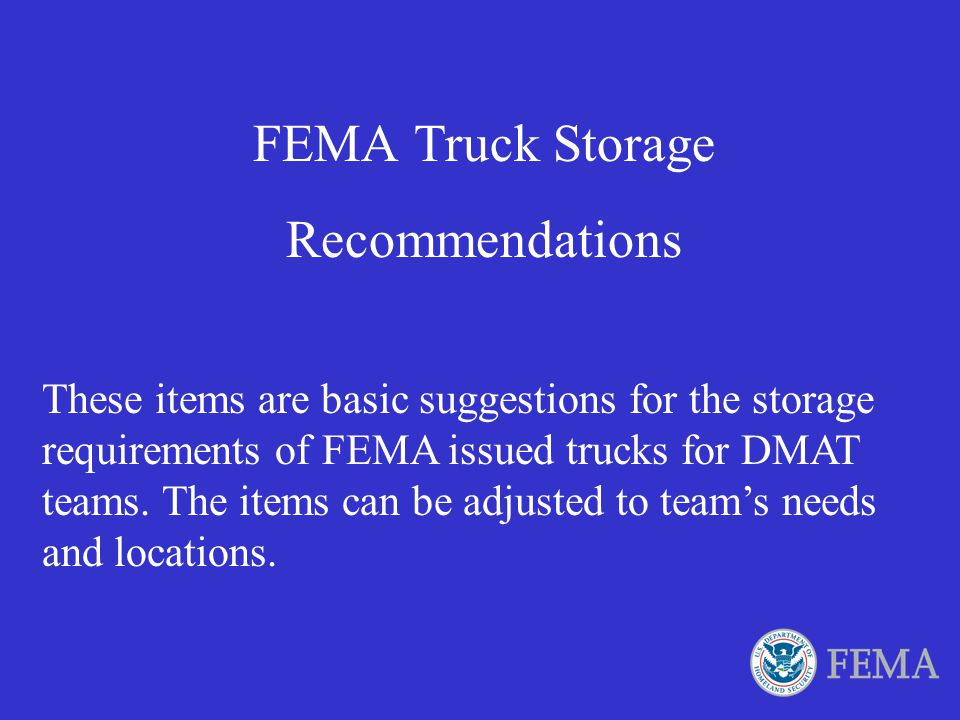 FEMA Truck Storage Recommendations