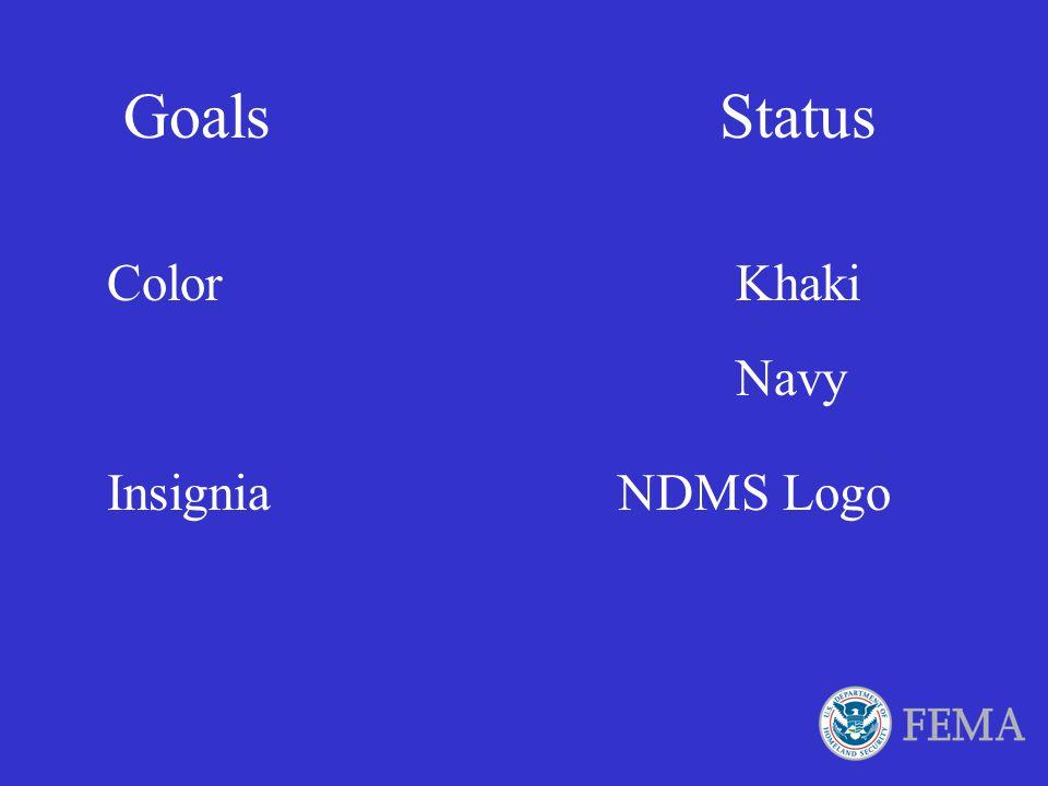 Goals Status Color Khaki Navy Insignia NDMS Logo