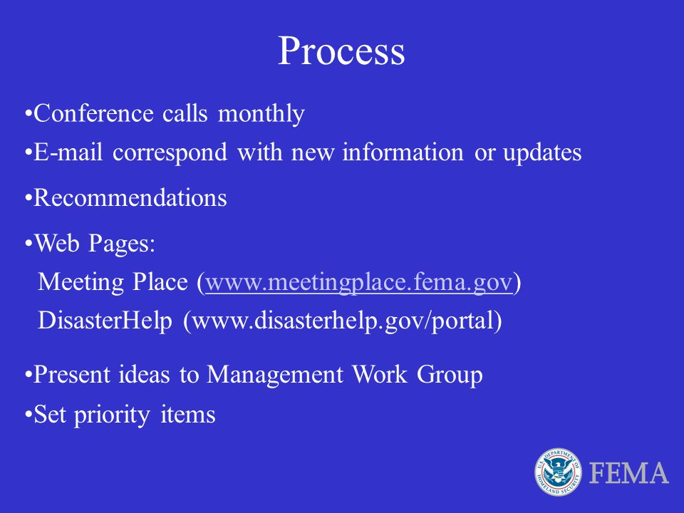 Process Conference calls monthly