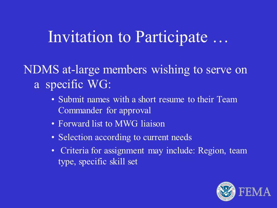Invitation to Participate …