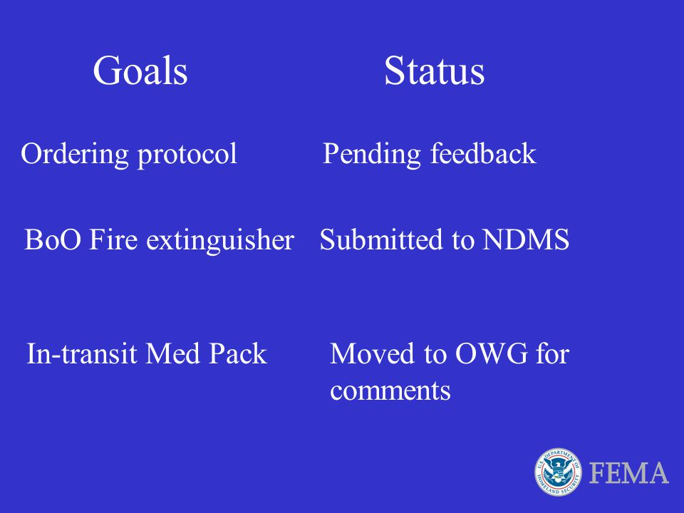 Goals Status Ordering protocol Pending feedback