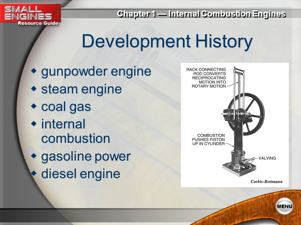 Development History gunpowder engine steam engine coal gas