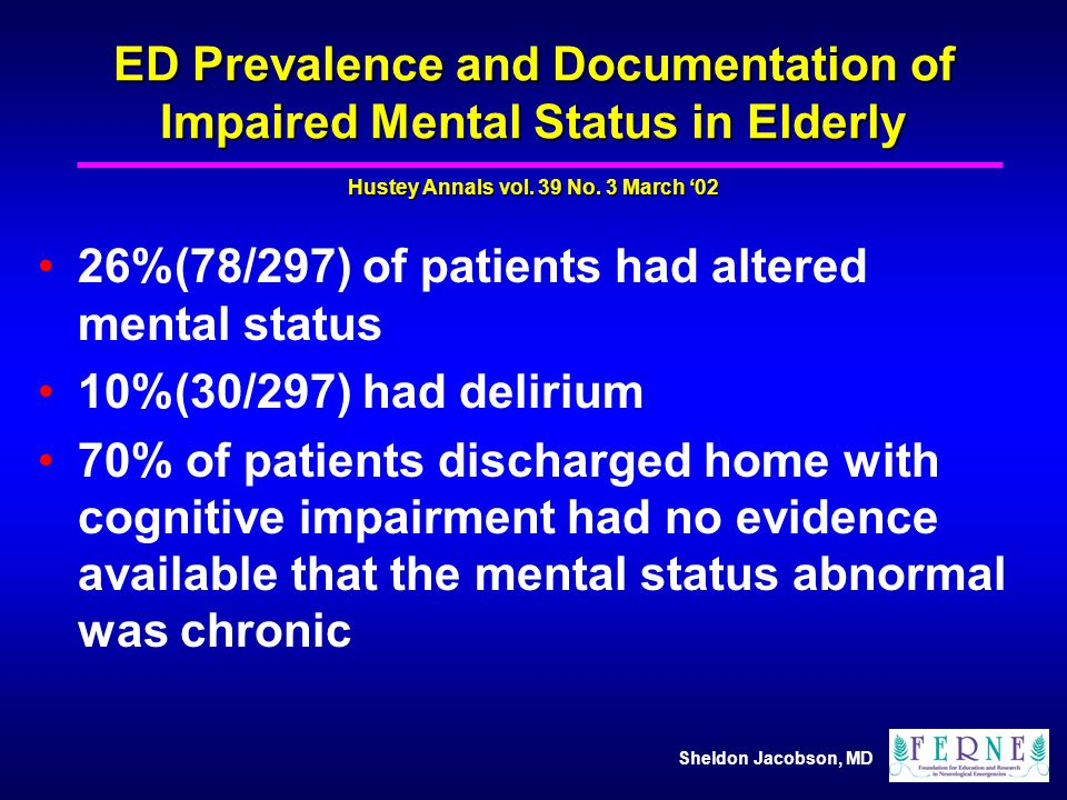 ED Prevalence and Documentation of Impaired Mental Status in Elderly