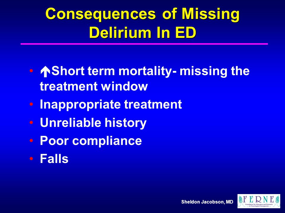 Consequences of Missing Delirium In ED