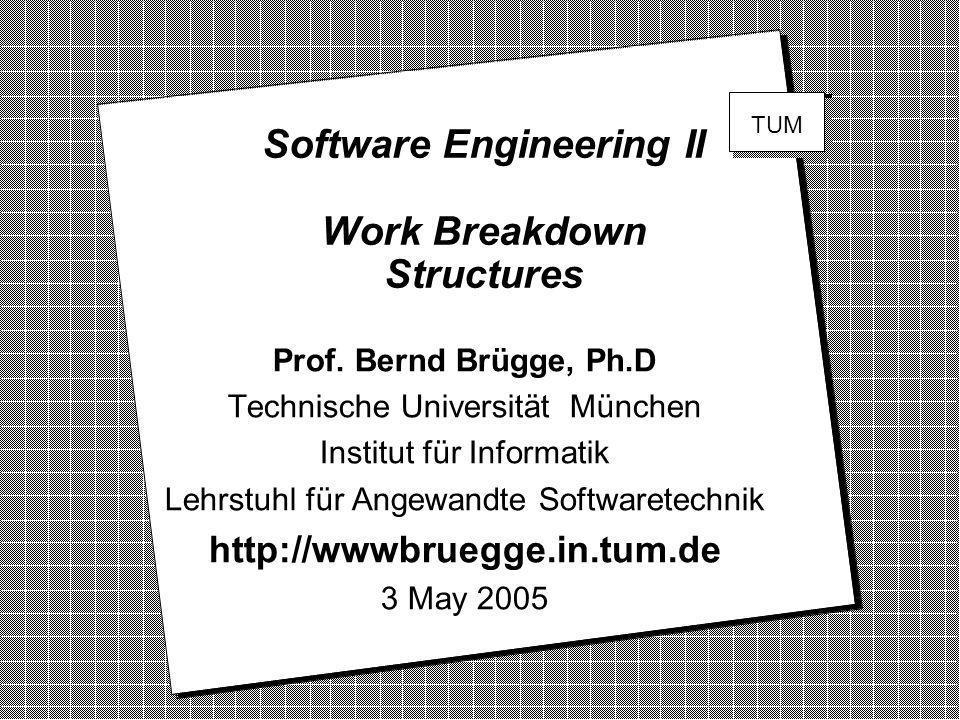 Software Engineering II Work Breakdown Structures