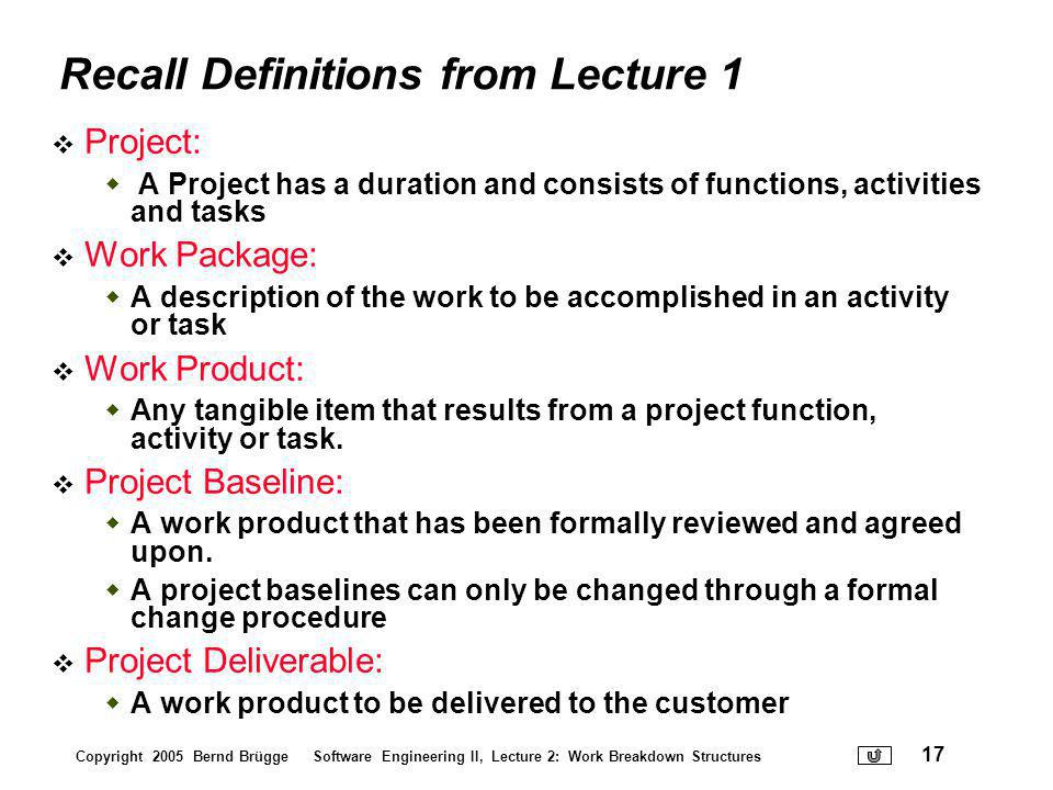 Recall Definitions from Lecture 1
