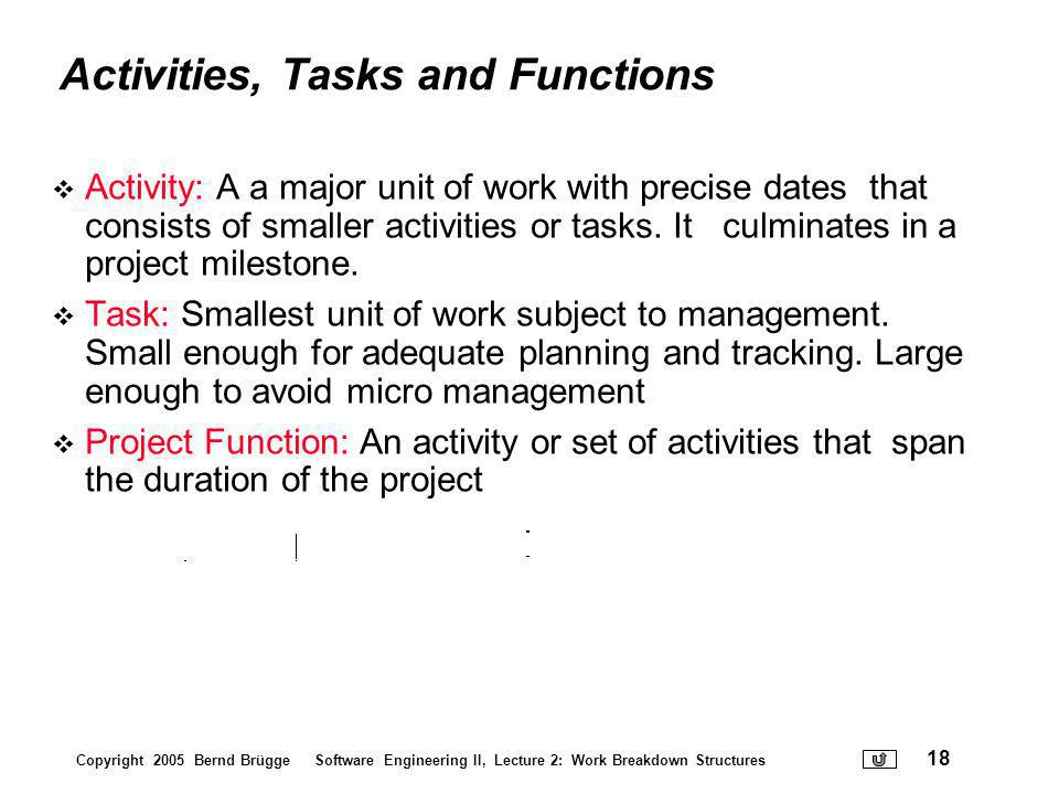 Activities, Tasks and Functions