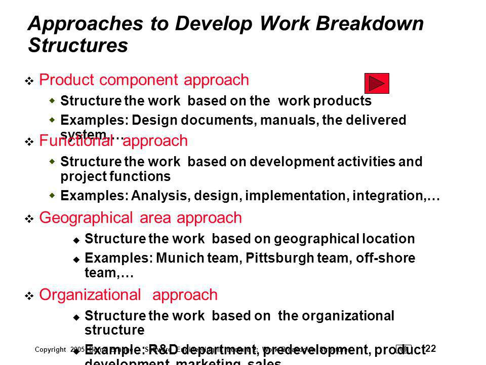Approaches to Develop Work Breakdown Structures