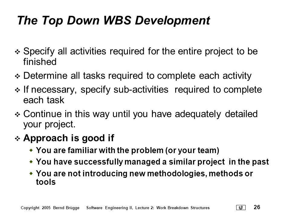 The Top Down WBS Development