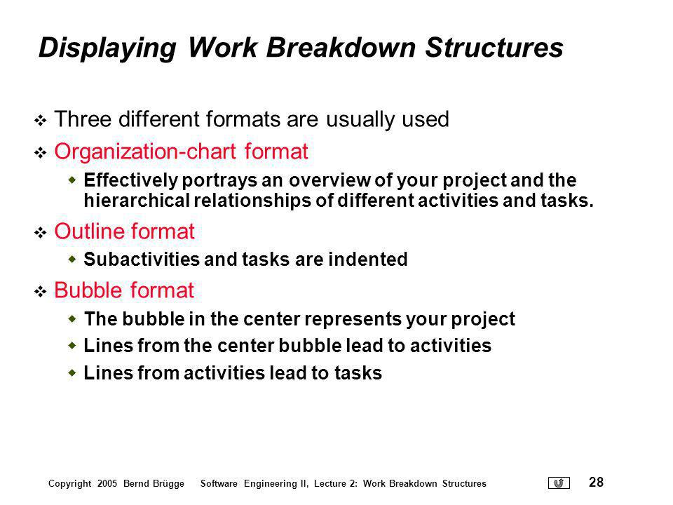 Displaying Work Breakdown Structures