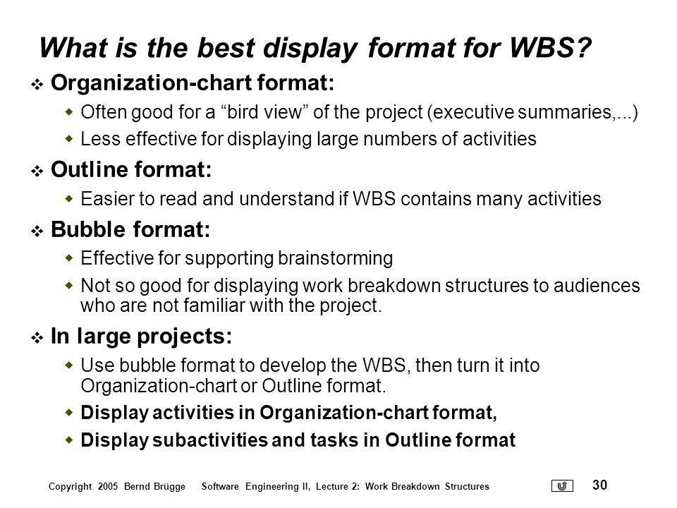 What is the best display format for WBS