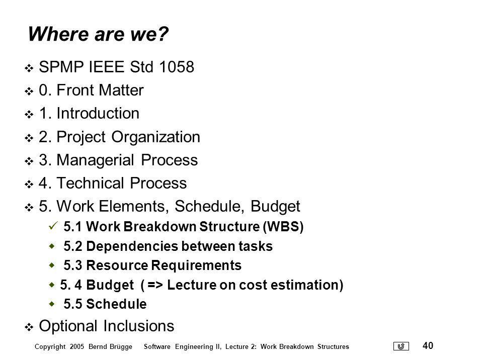 Where are we SPMP IEEE Std 1058 0. Front Matter 1. Introduction