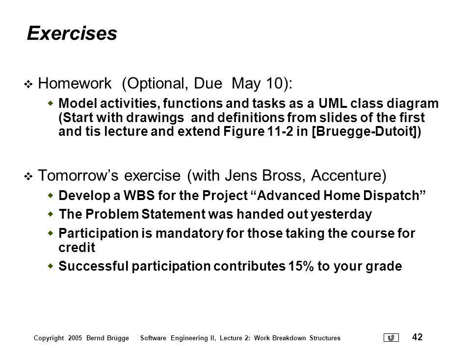 Exercises Homework (Optional, Due May 10):