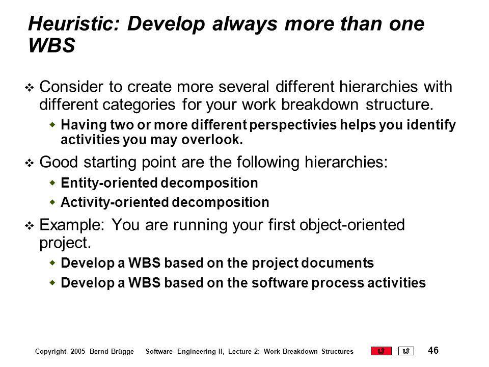 Heuristic: Develop always more than one WBS