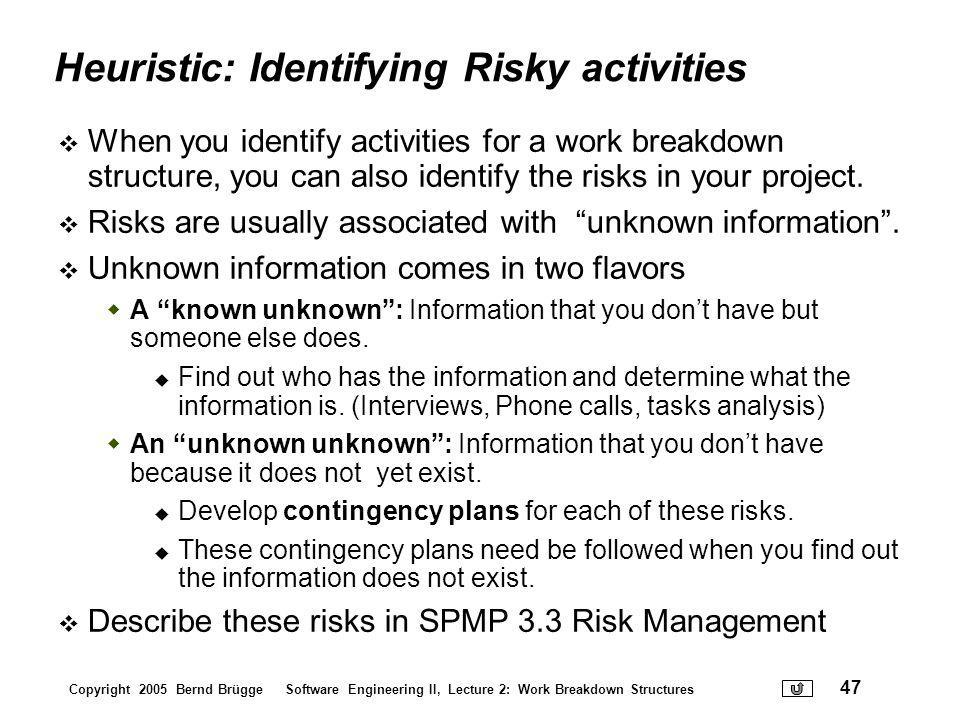 Heuristic: Identifying Risky activities