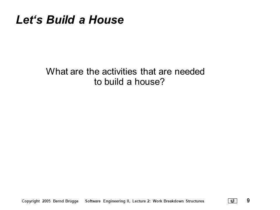 What are the activities that are needed to build a house