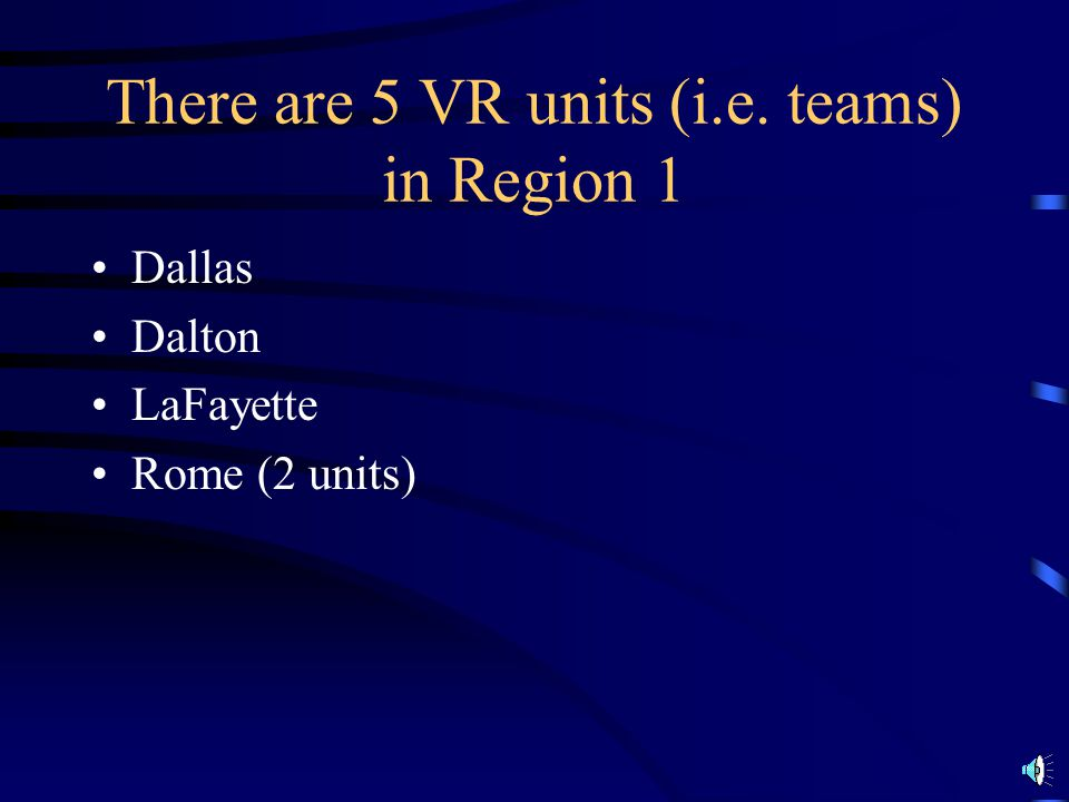 There are 5 VR units (i.e. teams) in Region 1