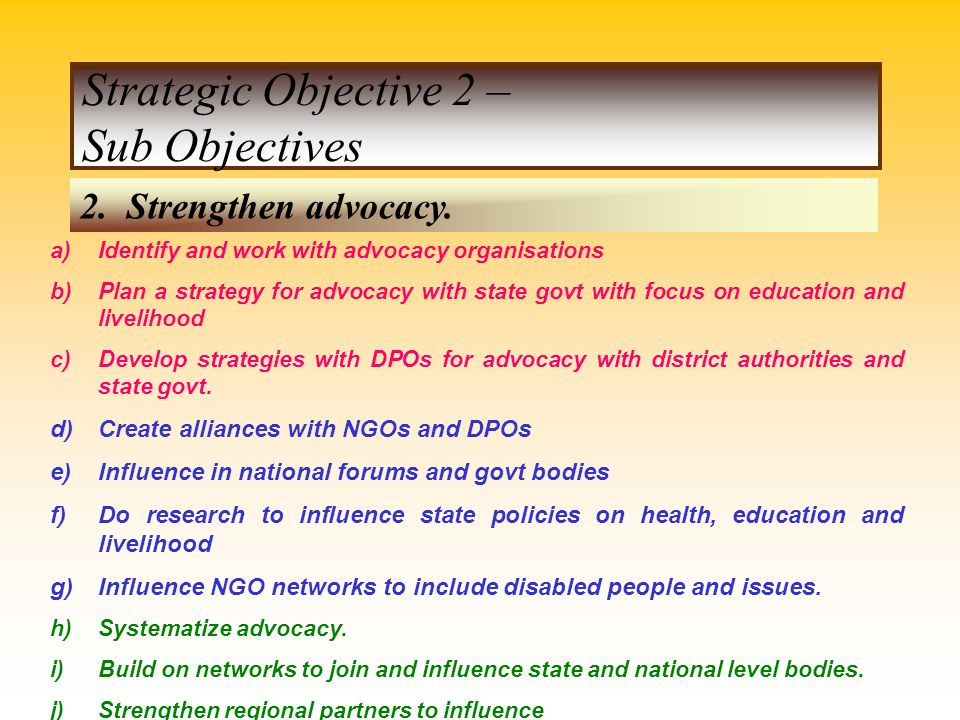 Strategic Objective 2 – Sub Objectives