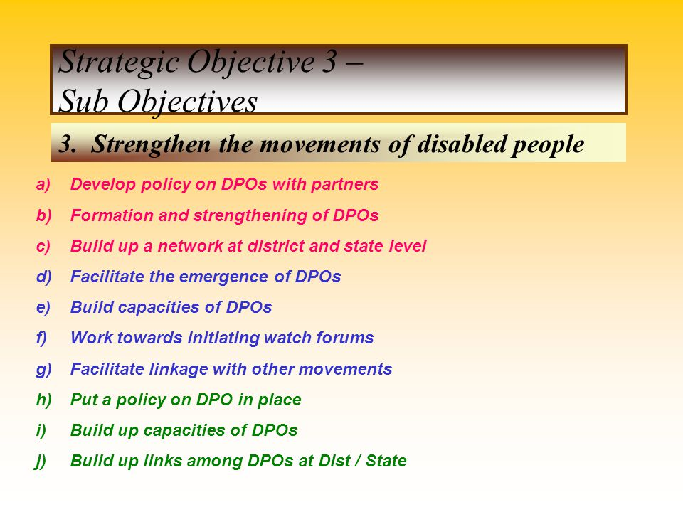 Strategic Objective 3 – Sub Objectives
