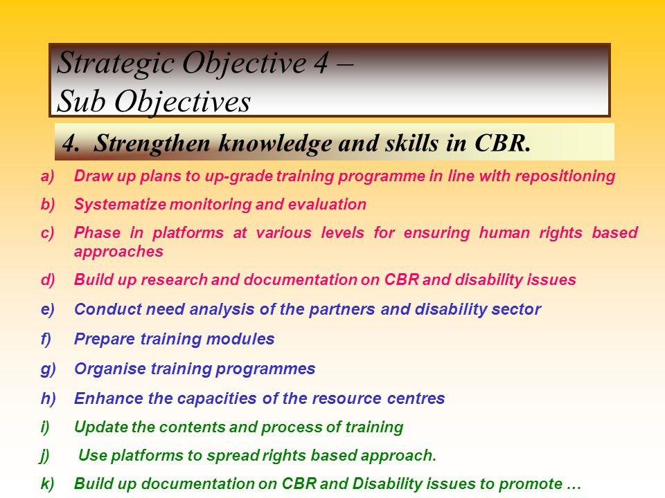 Strategic Objective 4 – Sub Objectives